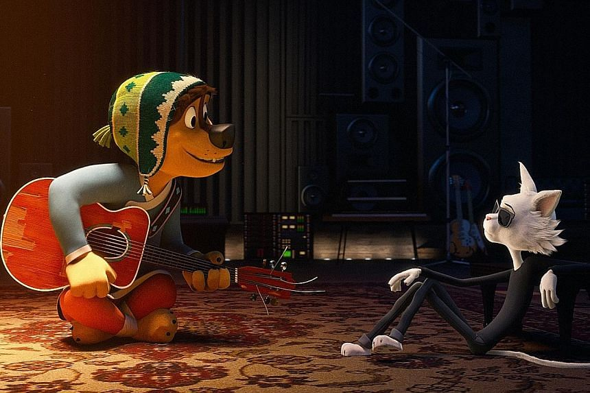 Luke Wilson voices a dog from the country trying to be a rock star and Eddie Izzard voices his cantankerous cat idol in Rock Dog.