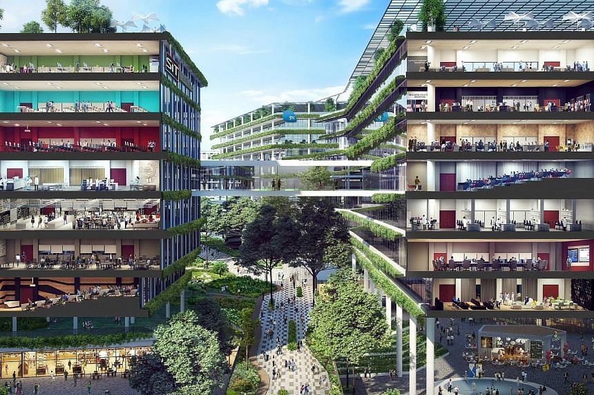 An artist's impression of the Punggol North enterprise district, where JTC's facilities and those of SIT can be integrated.