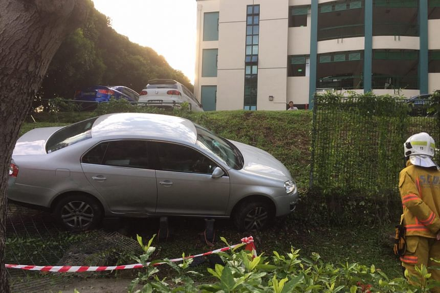 A car slid down a slope from the carpark of Marymount Convent School along Marymount Road on March 8, 2017.