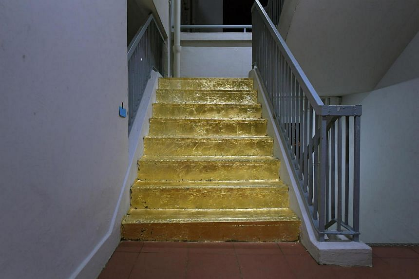 The Golden Staircase On The 20th Floor Of Block 103 Jalan Rajah. Done By Art