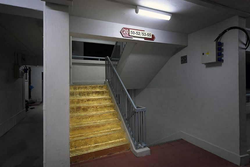 The golden staircase on the 20th floor of Block 103 Jalan Rajah. Done by art student Priyageetha Dia. The Jalan Besar Town council says her effort to cover the HDB staircase in gold foil is not permissible.