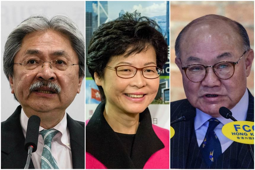 The three Chief Executive election candidates are (from left) Mr John Tsang, 65, Mrs Carrie Lam, 59, and Mr Woo Kwok Hing, 70.