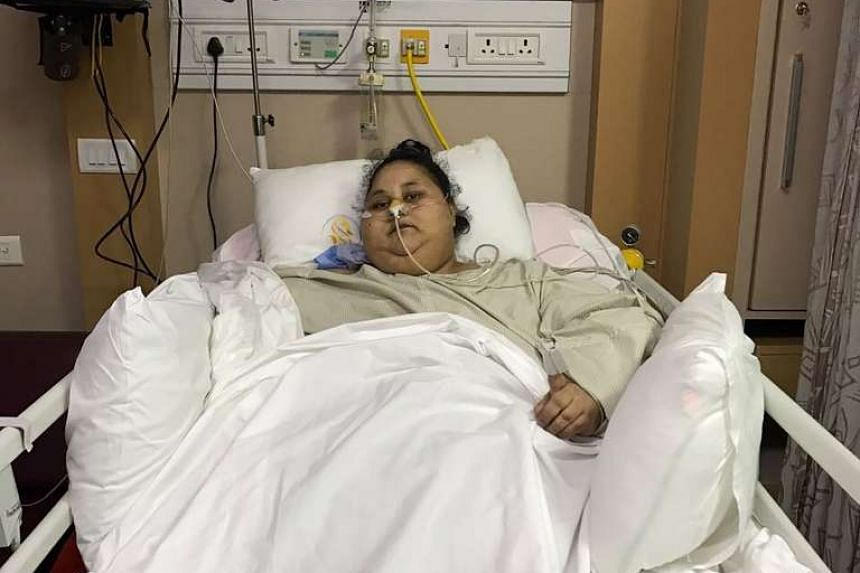 Egyptian Eman Ahmed Abd El Aty lies in a hospital bed at The Saifee Hospital in Mumbai on March 8 after the operation.