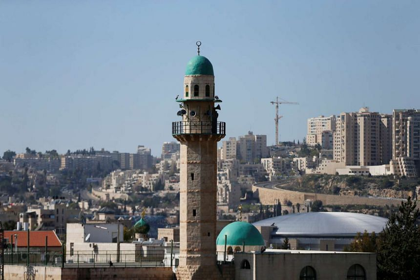 The minaret of a mosque is seen in the Palestinian neighbourhood of Beit Safafa in Jerusalem, March 8, 2017.