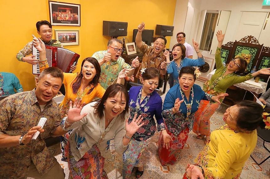 Mr Frederick Soh, a Baba who was the GSA's first vice-president, believes the Peranakan language is experiencing a revival due to an increased cultural prominence in recent years. The Gunong Sayang Association regularly holds singing sessions for its