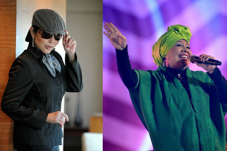 Pop stars Anita Sarawak (left) and Rahimah Rahim will be inducted into the Singapore Women's Hall of Fame (SWHF) in March 2017.