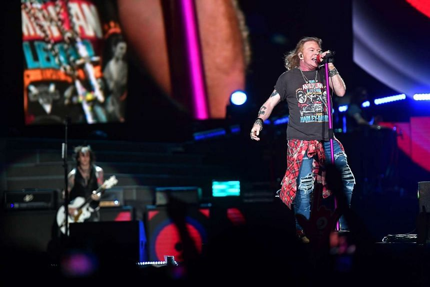 American rock band Guns N' Roses' at its first show in Singapore on Feb 25.