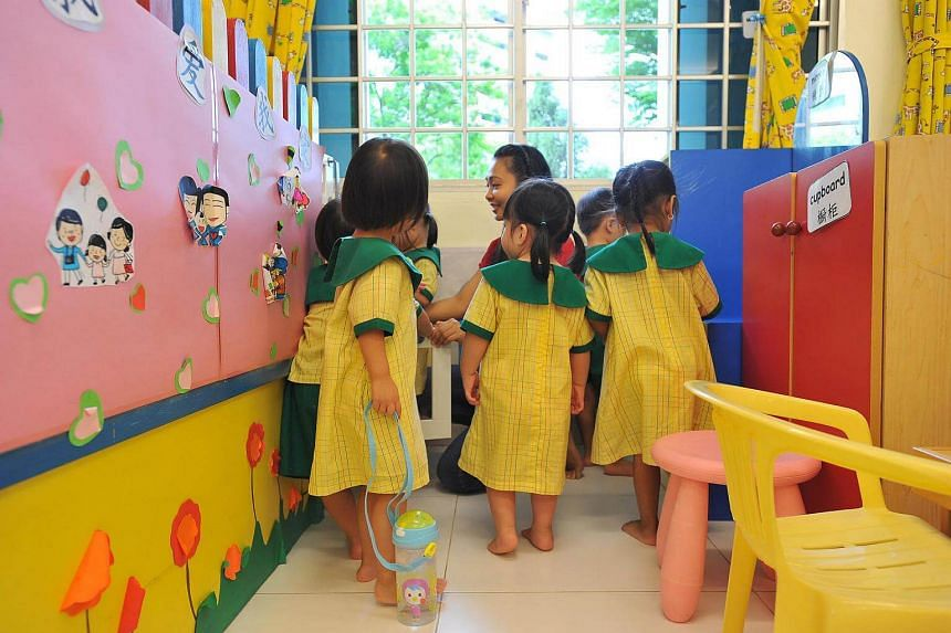 Children at Presbyterian Community Services Tampines Childcare Centre.