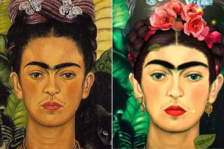 Frida Kahlo's Self-Portrait with Thorn Necklace and Hummingbird (left) and the same self-portrait run through Snapchat's filter.