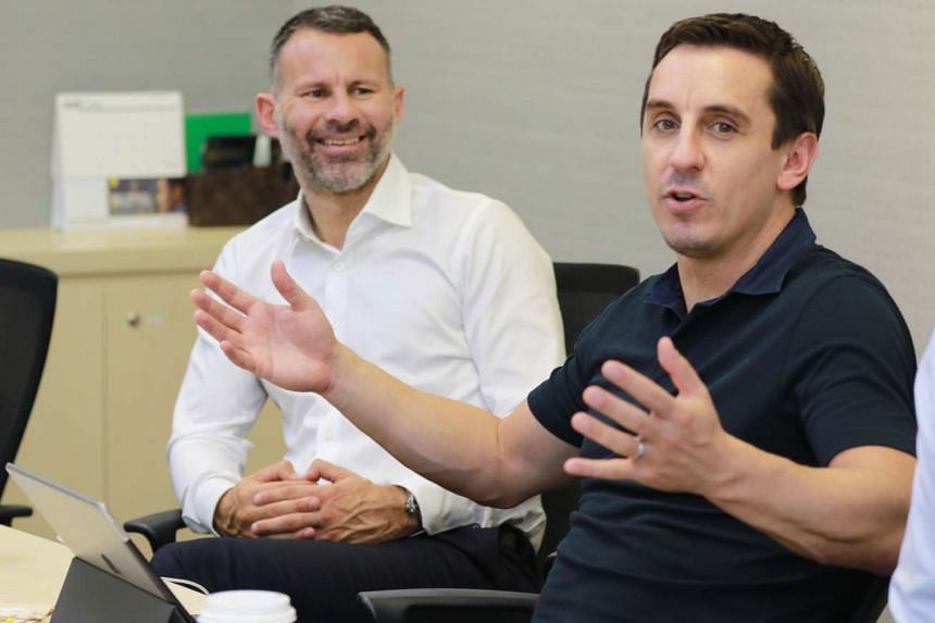 Former Manchester United stars Ryan Giggs (in white) and Gary Neville will be in town next month for the five-a-side CF Cup 2017.