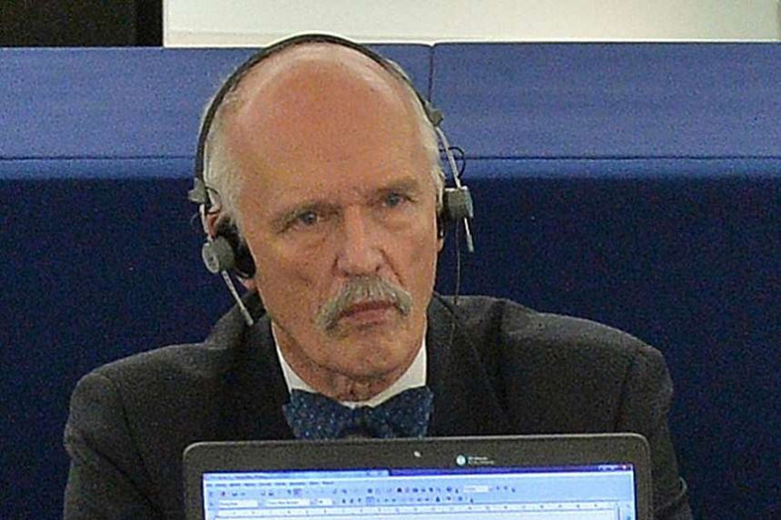 Janusz Korwin-Mikke (above, in a 2015 file photo) said women should be paid less because they are weaker and less intelligent than men.