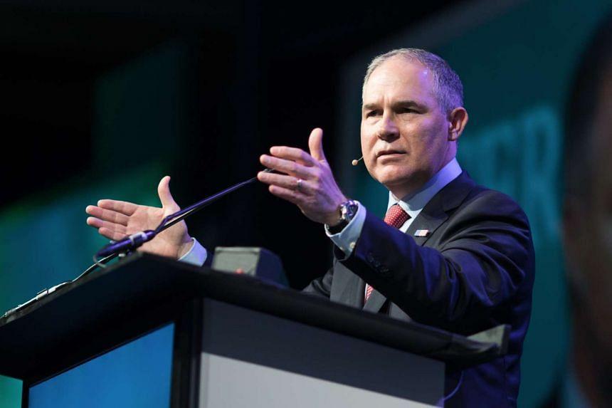 Scott Pruitt, administrator of the Environmental Protection Agency (EPA), speaks during the 2017 CERAWeek in Houston, Texas.