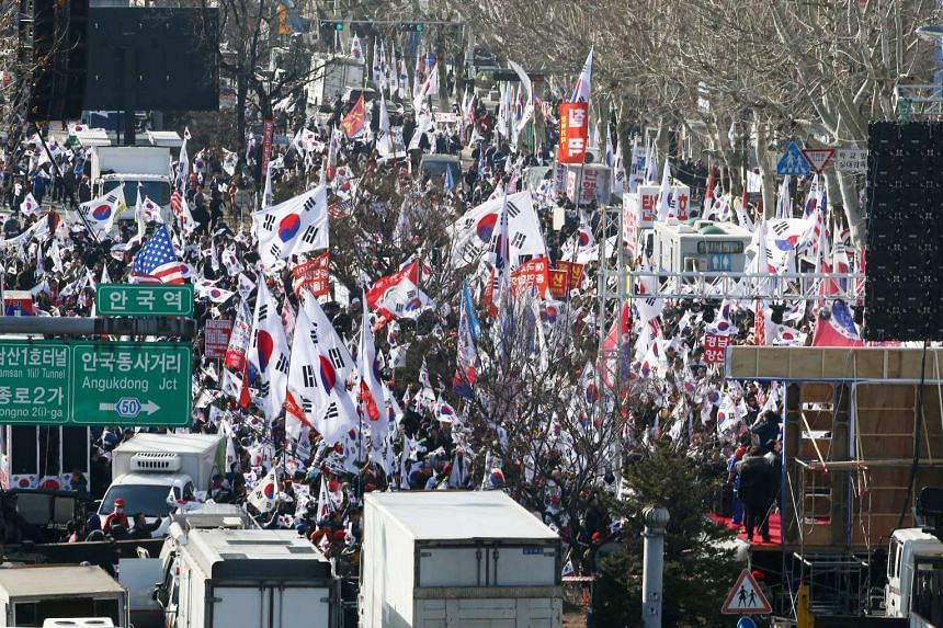 Supporters of impeached South Korean President Park Geun Hye taking part in a rally near the Constitutional Court in Seoul, South Korea.