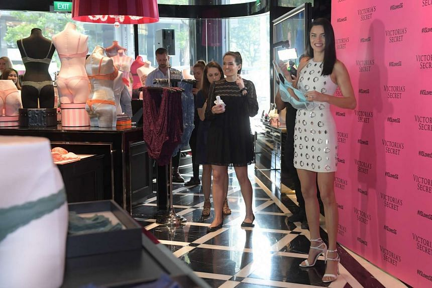 Adriana Lima at the Victoria Secret flagship store in Singapore.