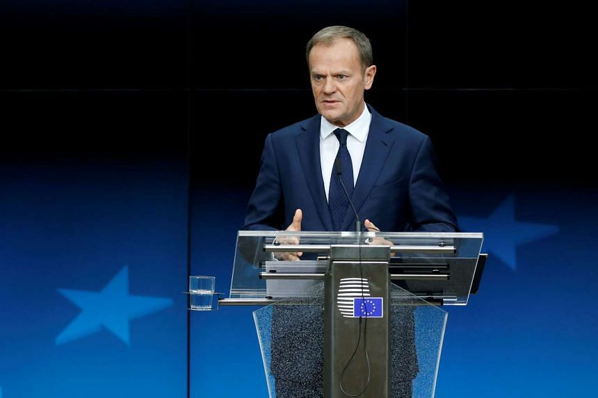 "Mr Donald Tusk, chairman of European Union leaders, told a news conference that 48 hours is ""a proper time to react""."