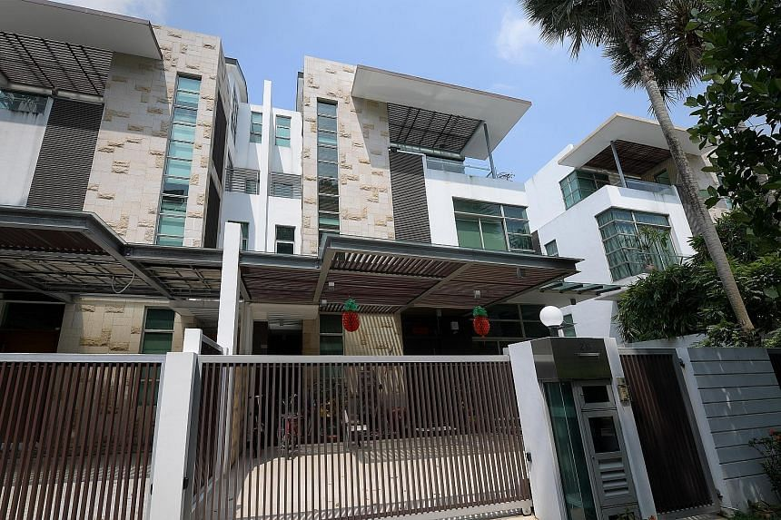 Above: Clarence Chang Peng Hong faces 47 charges. His case has been adjourned to April 6. Left, from top to bottom: Properties in Da Silva Lane in Hougang, Ettrick Terrace in Siglap, and Jalan Limau Purut in Tanah Merah. Chang allegedly used corrupt