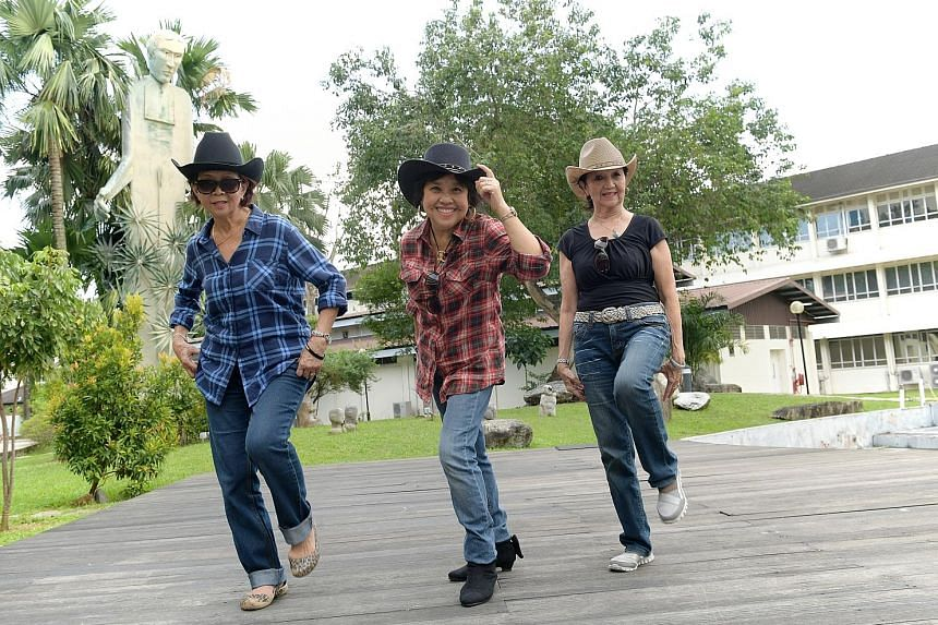 (From left) Ms Maria Oh, 68, Ms Irene Goh, 67, and Ms Peggy Toh, 74, have signed up for the Yee-Ha! Singapore - Country Line Dance Festival 2017.