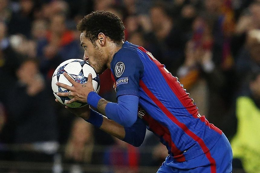 From top: Neymar celebrating after his 88th-minute free-kick goal, which was Barcelona's fourth that night.Neymar making it 5-1 with his 90th-minute penalty. Sergi Roberto prodding home in the fifth minute of stoppage time as Barca beat PSG 6-1.