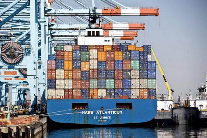 The Mare Atlanticum St. John's container ship sits docked in Newark Bay in Elizabeth, New Jersey.