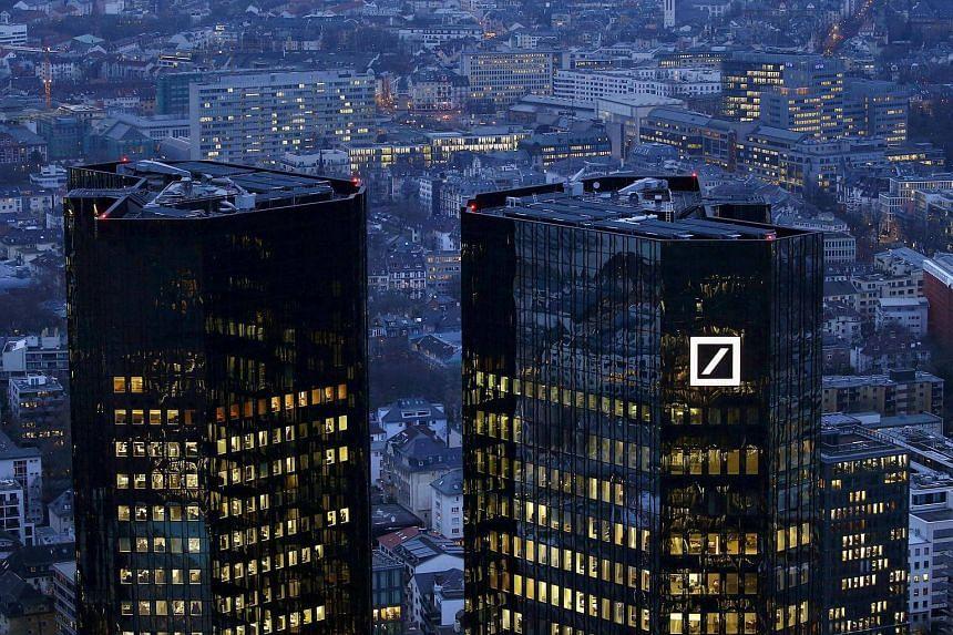 The headquarters of Germany's Deutsche Bank in Frankfurt, Germany.