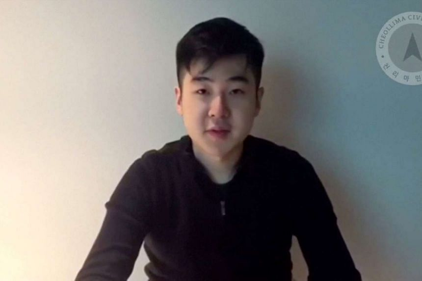 A man, who identified himself as Kim Han Sol, speaks in an unknown location, in this undated video posted on YouTube by a group called Cheollima Civil Defense. An official at South Korea's National Intelligence Service said the man in the video is th