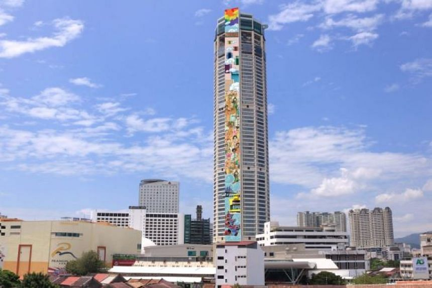 An artist's impression of the world's tallest mural on Penang's Komtar tower.