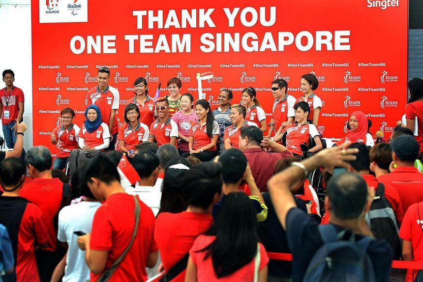 Para-athletes at the One Team Singapore Celebratory Parade. A new One Team Singapore matching grant was announced yesterday (March 9), an initiative that will see the Government match dollar-for-dollar donations.