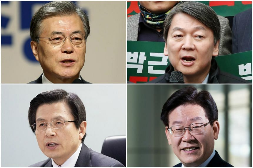 (Clockwise, from top left) Mr Moon Jae In, Mr Ahn Cheol Soo, Mr Lee Jae Myung and Mr Hwang Kyo Ahn are the leading contenders in the upcoming South Korean presidential election.
