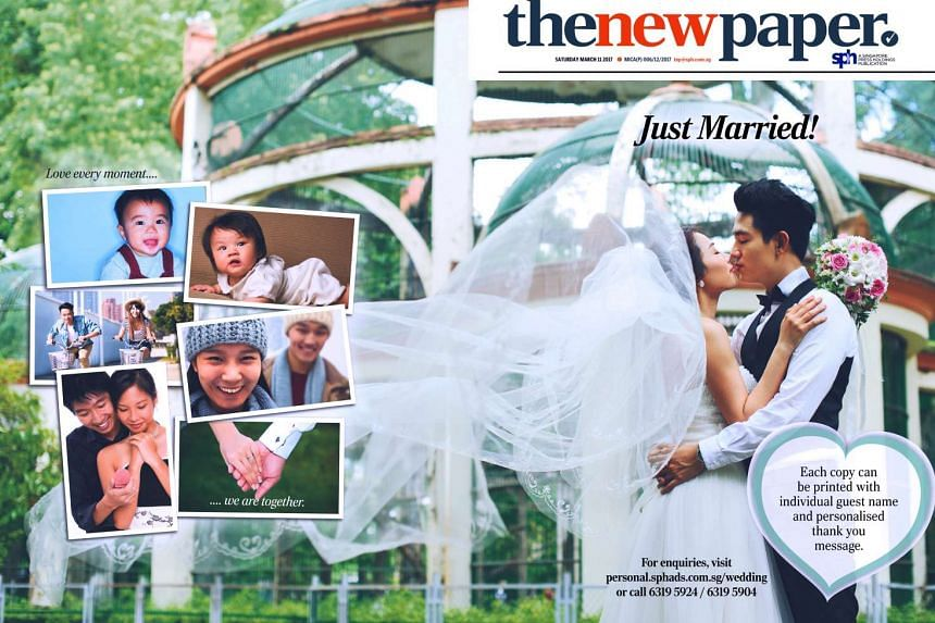 Couples can print photos and personalised messages on The New Paper cover as a memento.