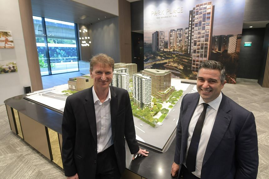 Paya Lebar Quarter managing director Richard Paine and Lendlease chief executive for Asia Tony Lombardo at the Park Place Residences show suite. The 99-year leasehold project, whose preview will start tomorrow, is the third condo to hit the market th