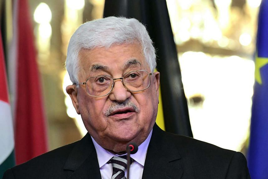 Palestinian President Mahmoud Abbas speaks at a press conference on Feb 9, 2017
