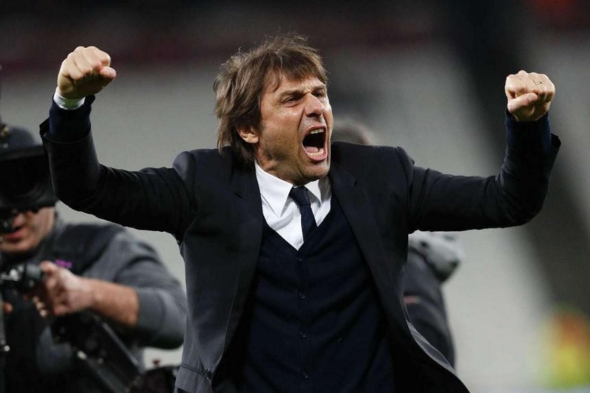 Chelsea's Conte celebrates a win against West Ham on March 6, 2017.