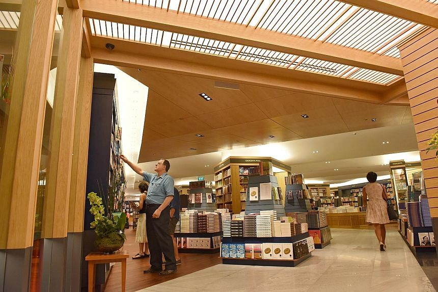 """The new frontage has a """"butterfly"""" timbre ceiling that is inspired by the look of an open book."""