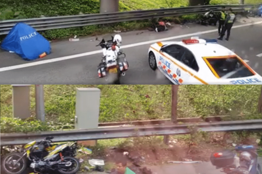 At least two people died and five were injured in a multiple-vehicle collision involving up to nine bikes and a van along the BKE on Saturday afternoon.