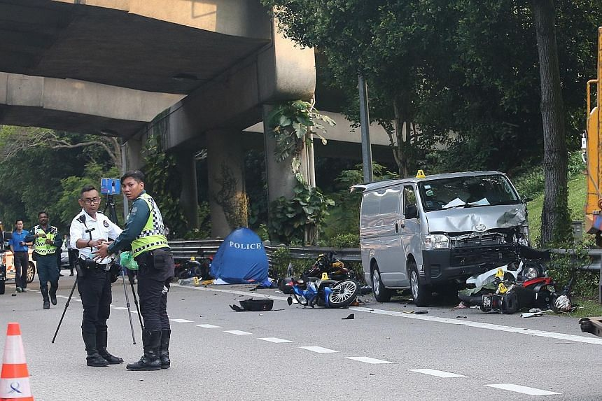 An accident between a van and nine motorcycles on the Bukit Timah Expressway (BKE) yesterday afternoon left two men, aged 34 and 50, dead and six others injured. Police arrested the 25-year-old van driver for a rash act causing death and suspended hi