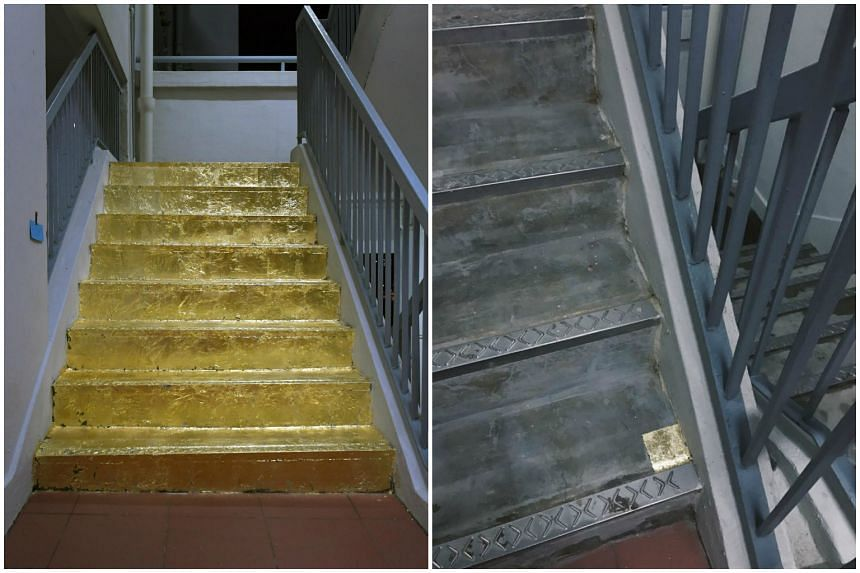 """Only a small square of gold foil remains of Lasalle student Priyageetha Dia's """"golden staircase"""" on the 20th floor of a Jalan Rajah HDB block."""