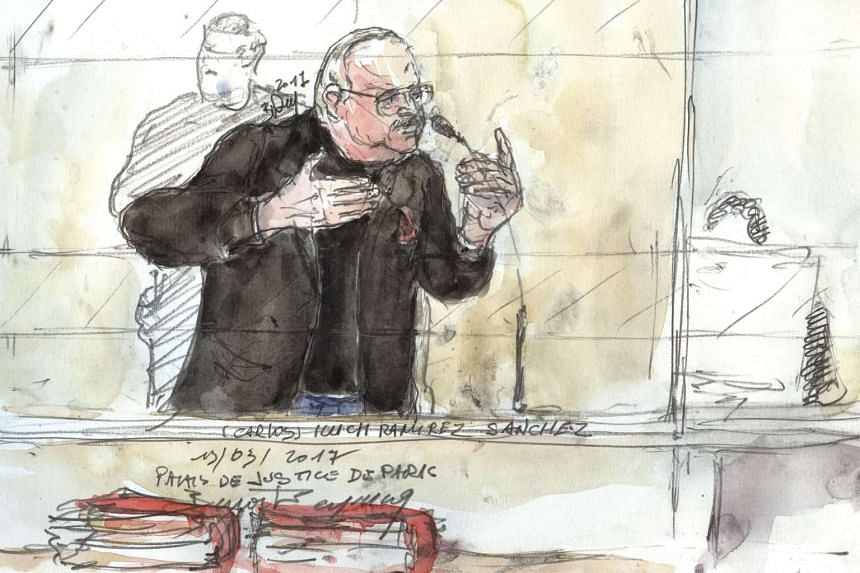 A court sketch made on March 13, 2017 shows Ilyich Ramirez Sanchez, known as Carlos the Jackal, gesturing during his trial in France.