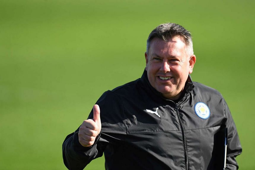 Leicester City's English manager Craig Shakespeare reacts during a team training session at Leicester City's training ground in Leicester.