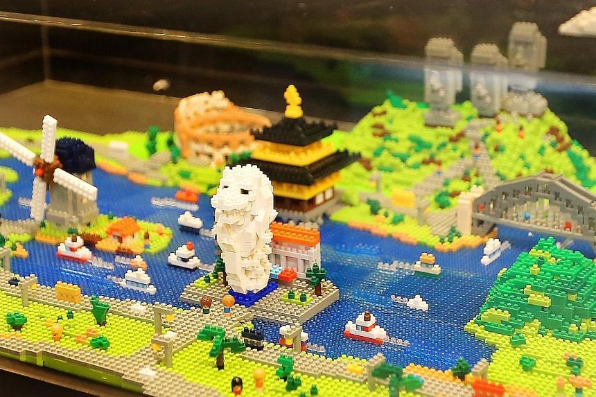 Spot Singapore's Merlion in brick form (above) and look out for the nanoGauge train – modelled after Japan's most famous train, the shinkansen bullet train, as it moves around a railway track.