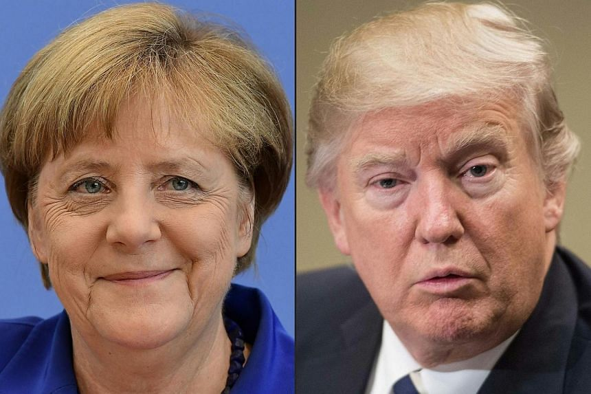 German Chancellor Angela Merkel during a press conference in Berlin, on July 28, 2016, and US President Donald Trump meeting with leaders of the pharmaceutical industry, on Jan 31, 2017.