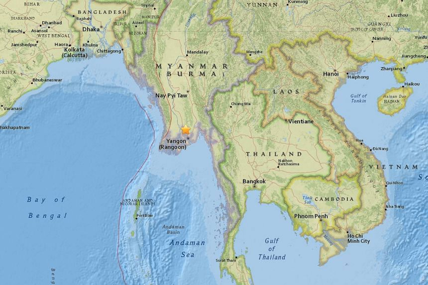 A 5.1-magnitude earthquake struck just north of Yangon, Myanmar, on March 13, 2017.