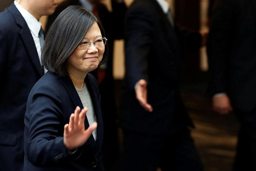 Taiwan President Tsai Ing-wen waving to the crowd during a stop-over after her visit to Latin America in Burlingame, California, US, on Jan 14, 2017.
