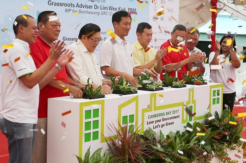 (From left) Mr Joseph Tan, Mr Tay Huat Heng, Dr Warren Lee, Mr Ong Ye Kung, Dr Lim Wee Kiak, Mr Norman Aw Kai Aik and Mr Jackson Yap during the launch of Canberra Day 2017 in Sembawang Close Mini Park, on March 12, 2017.