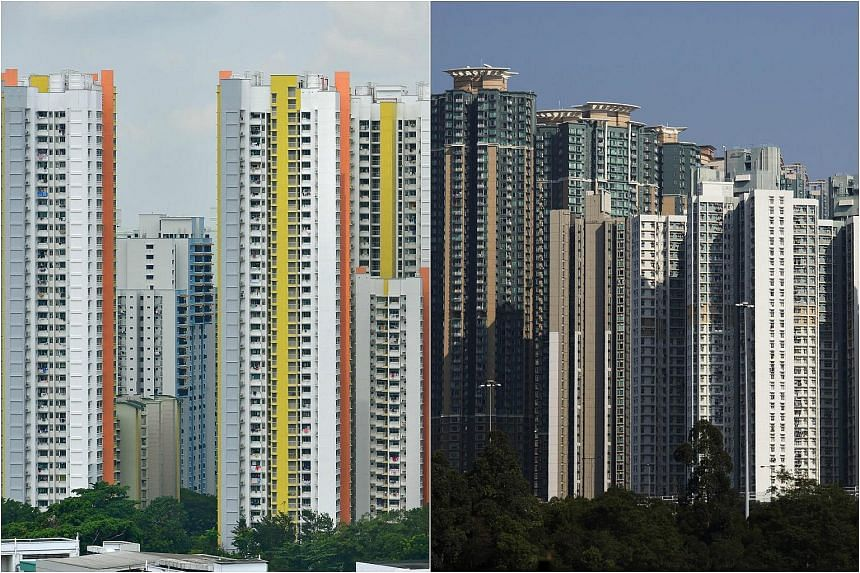 HDB flats in Singapore (left) and residential buildings in the Lai Chi Kok district of Hong Kong.