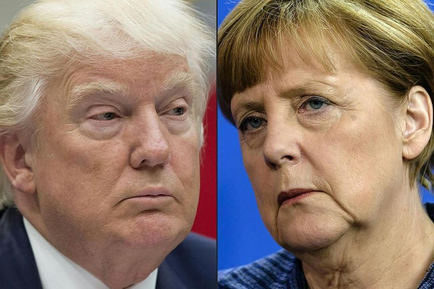 German Chancellor Angela Merkel (right) will travel to the United States today for talks with President Donald Trump.
