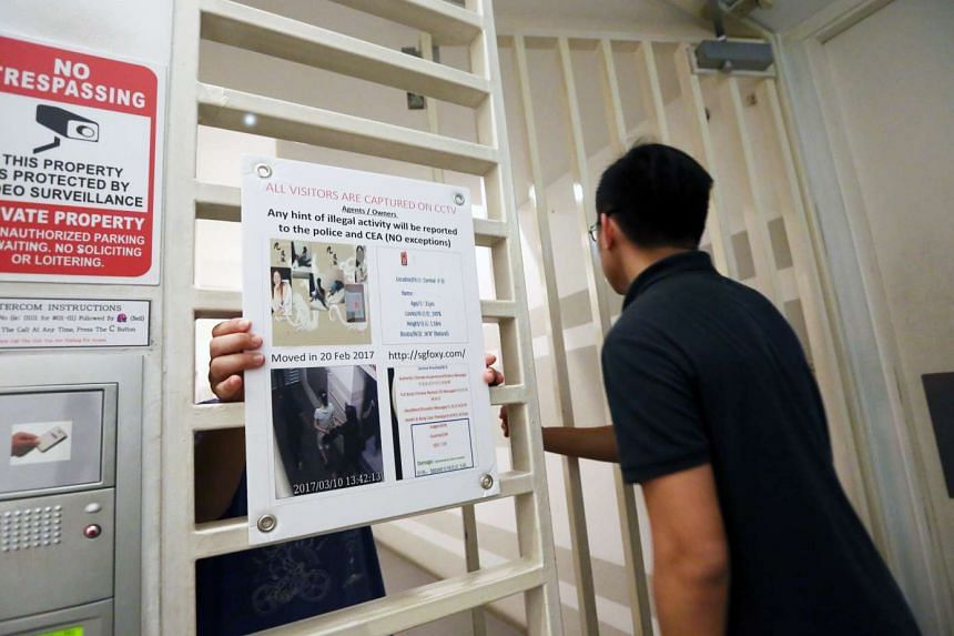 Gloria (pictured), a resident at a condominium in Little India, tracked down the activities of a new tenant who allegedly offered sex services in her condo unit. A Shin Min reporter (right) visited the condo, where Gloria had put up posters warning o