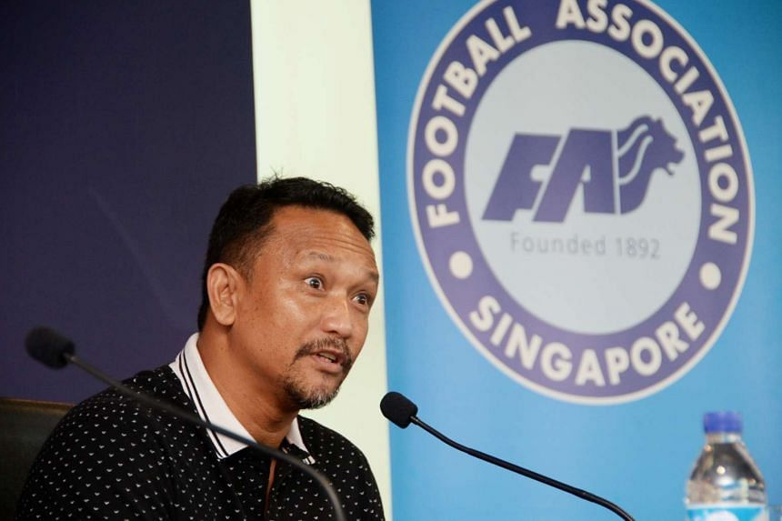 Local football legend Fandi Ahmad speaking during a press conference held at the Football Association of Singapore (FAS) headquarters at the Jalan Besar Stadium