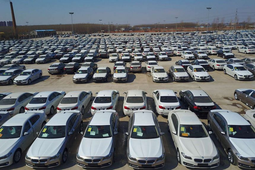 New cars in a parking lot in Shenyang, China, on March 6, 2017.
