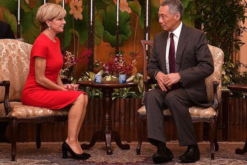 Ms Bishop called on PM Lee at the Istana yesterday afternoon, where they had a discussion on geopolitical developments. She also briefed Mr Lee on developments in Australia.