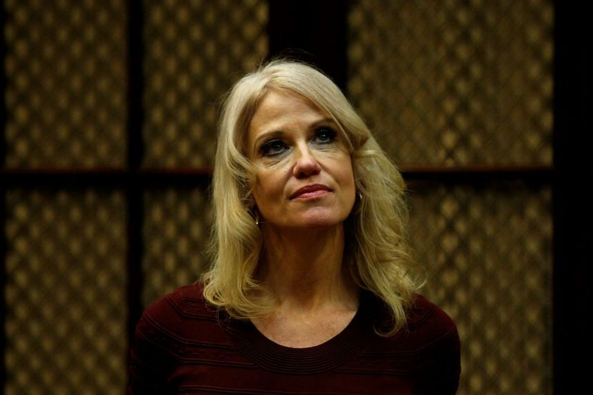White House counsellor Kellyanne Conway looking on as President Donald Trump meets with health insurance company CEOs at the White House on Feb 27, 2017.